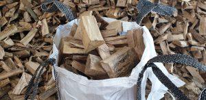 Close up Barrow Bag of Small Logs